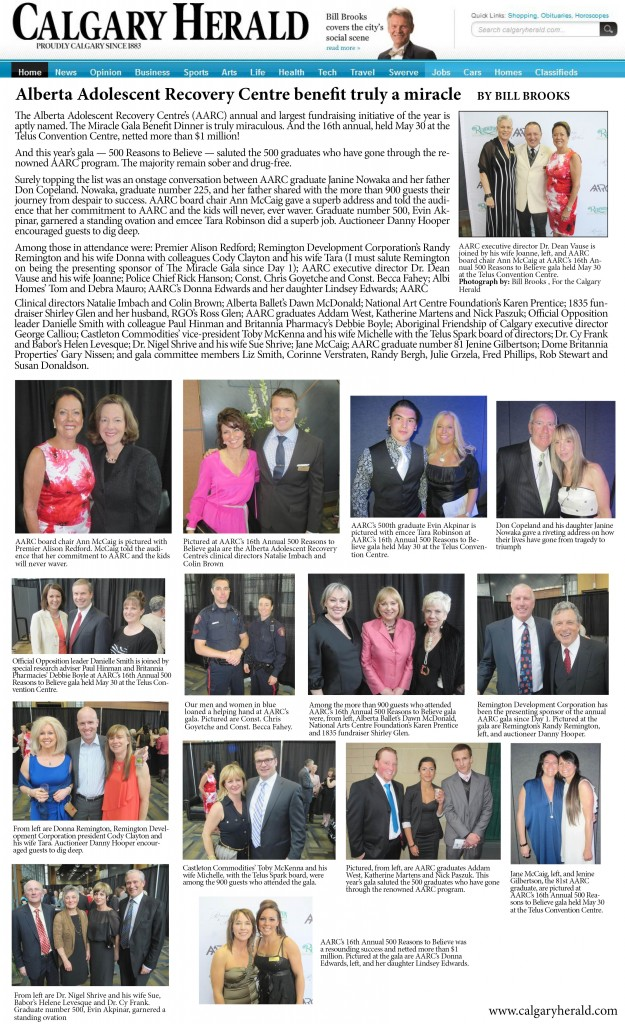 Calgary Herald – AARC's 2013 Gala Benefit Dinner | Alberta